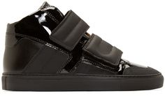 MM6 Maison Margiela: Black Leather Mid-Top Sneakers | SSENSE