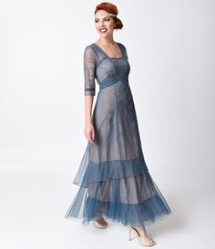 A sweet dreamy dress for a romantic night! A passionate Edwardian era gown in delicate azure blue with soutache embroidered stitching and pintucking over a soft grey pink crepe slip with a longer hem for a graceful tiered effect. $295