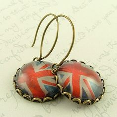 Union Jack Flag British Patriotic Earrings