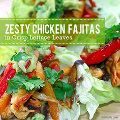 Zesty Chicken #Fajitas in Crisp Lettuce Leaves...MMM, mmm yummy. #paleomexicanrecipes
