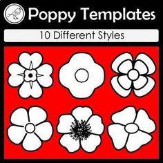 Anzac Day - Poppy Templates A handy resource for war remembrance days such as: ♦ Anzac Day ♦ Remembrance Day ♦ Armistice Day ♦ Veterans Day 10 Different Designs: Great for making wreaths and other craft activities. Made on size paper. 12 poppies per Remembrance Day Activities, Veterans Day Activities, Remembrance Day Poppy, Craft Activities, Winter Activities, Paper Plate Poppy Craft, Poppy Template, Anzac Poppy, Poppy Craft For Kids