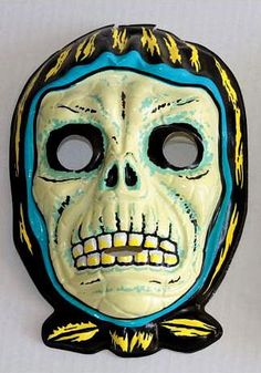 skeleton face wearing a shawl - vintage retro plastic Halloween mask