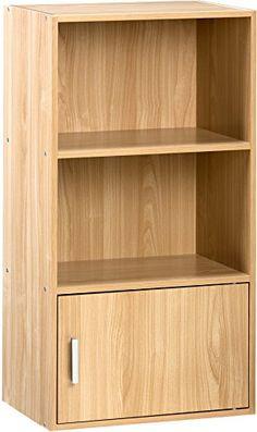 Small Bookshelf Wood Bookcase 2 Shelf And 1 Door Cabinet Storage Organizer Oak 2 Shelf Bookcase, Small Bookshelf, Modern Bookshelf, Bookshelves, Small Storage Cabinet, Storage Cabinets, Storage Spaces, Book Organization, Front Rooms