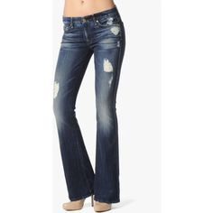 """7 For All Mankind Vintage 7 Collection: """"A"""" Pocket Flare In Rich Dark Destroyed"""