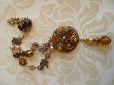 Vintage necklace repurposed jewelry for special occasions        stunning iridescent amber rhinestone necklace handcrafted and bespoke.
