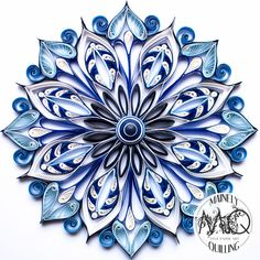 Blue and White Floral Mandala-Mainely Quilling Quiling mandala floral bleu et blanc - By Mainely Quiling Find this Pin and more on Papier - Quilling. Q is for (Mainely) Quilling Mainely Quilling's new product digital art prints are now available on my Ets Neli Quilling, Paper Quilling Flowers, Paper Quilling Cards, Paper Quilling Patterns, Quilled Paper Art, Quilling Paper Craft, Diy Paper, Paper Crafts, Quilling Christmas