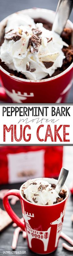 Chocolate Peppermint Bark Molten Mug Cake is a quick and easy 5 minute treat. Perfect for a chocolate fix. #ad - Eazy Peazy Mealz