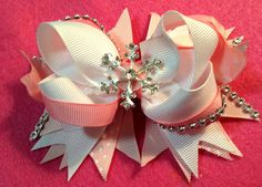 Pink White Winter Bow with Bling/Snowflake Girls Hair Bow/Girly Curl Bow/Winter White Bow/Toddler Bow/Holiday Girls Bow/Christmas Hair Bow by GirlyCurlBowtique on Etsy
