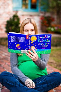 Maternity This would be a cute picture of you with a favorite baby book and then a second picture of you holding the baby and reading the book!