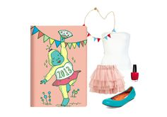 An adorable outfit inspired by our 2013 Daycraft Animaland Diary (Baboon) $15 - Wetseal Tulle Tiered Mini Skirt - Plein Sud Bustier Tube Top    - Aubin & Wills Bovington Necklace - Lanvin Ballerina Flat in Bleu Canard - OPI Big Apple Red