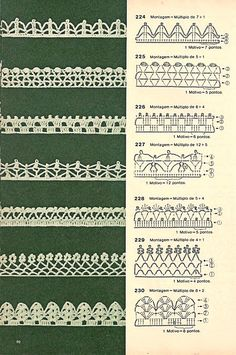 121 Models of Nozzles and Barred in Crochet for you Crochet Boarders, Crochet Edging Patterns, Crochet Lace Edging, Crochet Diagram, Crochet Chart, Lace Patterns, Thread Crochet, Crochet Trim, Crochet Designs