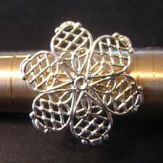 Filigree flower ring blanks silver plated ON SALE pick your