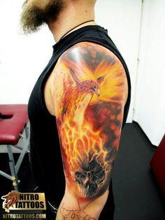 Phoenix and skull by Nitro Tattoos
