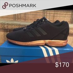Adidas Zx Flux Metallic Copper U.S. Women Size 8. *Fits 8.5* Brand new with box! Never worn! Excellent condition! Unfortunately I was unaware that this shoe runs half a size larger than actual size so it does not fit me. I am now looking to sell. Adidas Shoes Athletic Shoes