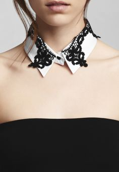 """A collar makes an unexpected accessory... our """"Talina"""" is a stretch poplin shirt collar with black macramé braid. // Anne Fontaine www.annefontaine.com, #annefontaine #collar #fashion"""