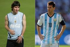 Left: Lionel Messi in Right: Lionel Messi playing for Argentina at the FIFA World Cup in Brazil, Cristiano Ronaldo Junior, Cristiano Ronaldo 7, Lionel Messi, Messi Argentina, Soccer Stars, Stars Then And Now, Fifa World Cup, Football Players, Boys