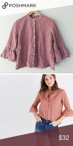 Madewell Gingham Bell-Sleeve Button Down Cotton/Linen Blend. Slightly Cropped. Great Condition. Madewell Tops Button Down Shirts