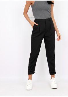 Pantalon à pince noir taille haute