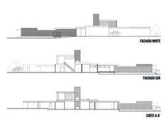 Clásicos de Arquitectura: Casa Kaufmann / Richard Neutra: North Facade Section, South Facade Section, Court A-A'? Architecture Panel, Modern Architecture House, Futuristic Architecture, School Architecture, Residential Architecture, Chinese Architecture, Modern Houses, Richard Neutra, Palm Springs