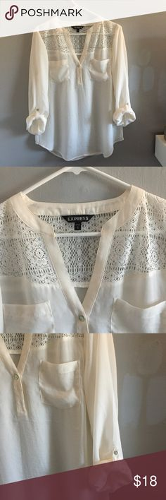 """Express Convertible Sleeve Portofino Shirt sheer white v neck blouse with 3 button about halfway down lace accenting around the shoulders  straps on sleeves to hold them if rolled up  bust: 20"""" length: 26"""" Express Tops Blouses"""