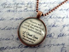 Wizard of Oz Book Quotes   Wizard of Oz Book Quote Necklace - Tin Man Heart Quote Book Jewelry or ...