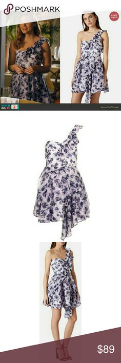 """NWT, Topshop One-Shoulder Floral Chiffon Dress Topshop One-Shoulder Floral Chiffon Dress worn by Kaitlyn Black on Hart of Dixie!!   Ruffled tiers flutter against this blooming floral chiffon dress styled with a single-shoulder neckline and asymmetrically draped skirt.  - 37"""" to shortest point; 41"""" to longest point (size 8) - Lined - 100% polyester - Machine wash cold, dry flat Topshop Dresses"""