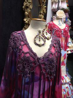 Flamenco shawl (mantoncillo) made in crochet  flowers in purple color