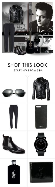 """""""Johnny Cash; The Man in Black"""" by angelflair ❤ liked on Polyvore featuring Trilogy, Boglioli, Prada, Bruno Magli, Movado, Ralph Lauren, Yves Saint Laurent, Burberry, country and men's fashion"""