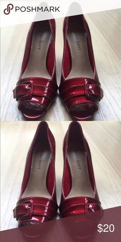 NWOT Karen Scott Red Buckle Heels Gorgeous red leather kitten heels, 1 inch heel with peep toe adorned with red buckle! New without Tags! Size 6.5 Karen Scott Shoes Heels