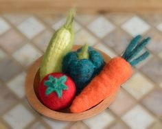 Eco Friendly Wool Vegetables Food Play SET of 4 - XL Needle Felted Toys and Home Decor - Waldorf Inspired Kids Gift Under 75 (Ready to Ship).