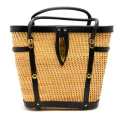 Vintage Straw and Black Leather Purse with Gold Tone Metal Studs, Spring or Summer Raffia Tote Bag, circa 1950s-1960s
