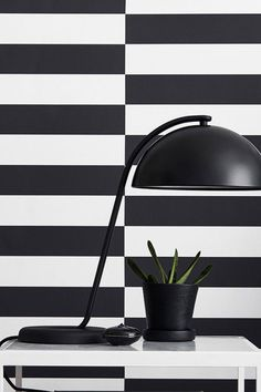 Graphic wallpaper featuring optical illusions, sensual structures, dramatic colours and luxury materials. Find eye-catching graphic wallpapers in o. Graphic Wallpaper, Striped Wallpaper, Black Wallpaper, White Patterns, Basic Colors, Pattern Wallpaper, Wall Decor, Stripes, Black And White