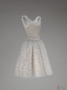 Dior diamond studded dress 1950s vintage retro full skirt circle pleated sleeveless cinched waist