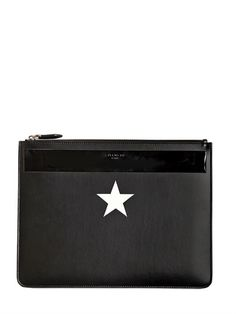 GIVENCHY - STAR PRINTED LEATHER LARGE POUCH - LUISAVIAROMA - LUXURY SHOPPING WORLDWIDE SHIPPING - FLORENCE