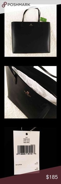 "New Kate Spade black tote 16""-12"" New with tags great for fall , winter and all year long. Bundle up and save kate spade Bags Totes"