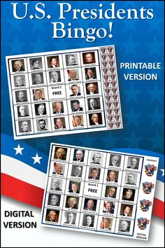 A fun way to learn about the presidents! Includes all 46 presidents including newly elected Joe Biden. 30 boards for large group play. Includes both printable PDF and digital versions for home play. #joebiden, #presidents Social Studies Activities, History Activities, Lab Tech, Bingo Games, Private School, Us Presidents, Joe Biden, Second Grade, Classroom Decor