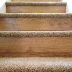 Carpet on tread and wood or laminate flooring on the riser. This design by BP Carpets and Flooring adds an extra luxury touch to look and feel of your stairs. Laminate Flooring On Stairs, Carpet Flooring, Tile Flooring, Wood Laminate, Wooden Stairs, Stairs With Wood And Carpet, Carpet Treads For Stairs, Stair Carpet, Home Depot Stair Treads