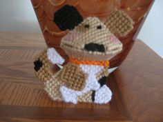 Plastic Canvas For Sale | Plastic Canvas Dog Kiss is handmade with plastic canvas and yarn ...