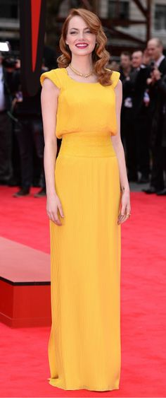 Emma Stone in a Canary Yellow Dress