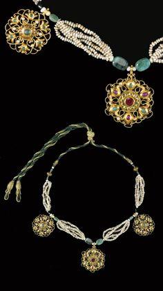 Morocco | 'Tazra' ~ Gem-set, enamel, seed pearl gold necklace | 18th century | Est. £7'000 - 10'000 (Apr. '14)