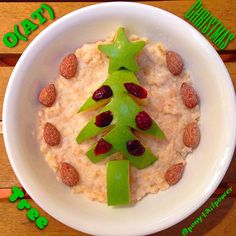 """O(AT) CHRISTMAS TREE Sing with me! Oat Christmas Tree...Oat Christmas Tree... Of All the Trees Most Lovely!  Or maybe not so much??? Actually, ☝️this would be more appropriately titled, """"Charlie Brown's Christmas Tree""""! ⭐️⭐️⭐️ Oats topped with a Granny Smith Apple Tree, decorated with #Craisin Ornaments, finished with an Apple ⭐️Star, and surrounded by Vanilla Roast Almonds! Inspired by @Ida Skivenes."""