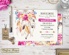 Boho Chic Watercolor Dream Catcher and Vibrant Floral Baby Shower - Bridal Shower - Birthday Party Invitation DIGITAL FILE by montrosedesigns on Etsy https://www.etsy.com/listing/261707598/boho-chic-watercolor-dream-catcher-and