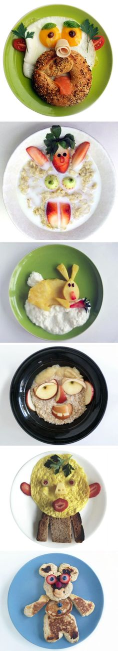 Lots of creative breakfast ideas!  Pratos criativos. Faça caras divertidas com alimentos!