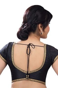 #Black casual wear raw #silk alluring #blouse with cap sleeves -BL593
