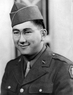 Private First Class Joe M. Nishimoto, US Army Medal of Honor recipient near La Houssiere, France, World War II November 15, 1944.