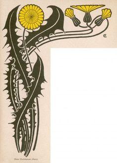 Print of Jugendstil Dandelion Art Nouveau Illustration, Plant Illustration, Graphic Illustration, Art Nouveau Flowers, Textile Fiber Art, Inspirational Artwork, Arts And Crafts Movement, Botanical Prints, Lettering