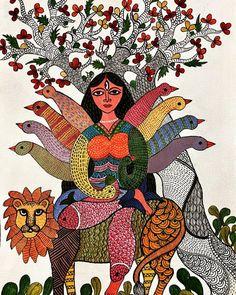 Durga Painting, Madhubani Painting, Indian Folk Art, Indian Artist, Durga Ji, Kalamkari Painting, Decoupage Printables, Coin Art, Madhubani Art