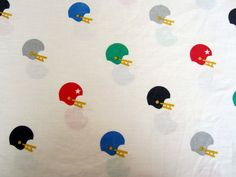 Vintage Sheet - Football Helmet  - Twin Size Flat. $12.00, via Etsy.