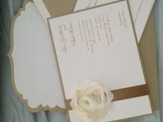 Gorgeous metallic gold and cream invitation with shabby chic rose and fabulous custom cut envelope
