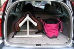 PVC saddle rack for your car, would be awesome for showing, it'd clear out the trailer tack room a bit, Horse Gear, Horse Tips, Horse Training, Training Tips, Saddle Rack, Horse Barns, Horse Stalls, Horse Crafts, Horse Trailers